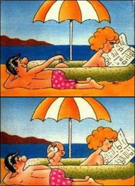 Смішний малюнок. Курйоз на пляжі. Чоловік на пляжі гладить оголені жвночі сідниці. Але це виявляються не сідниці, лисина якогось мужика