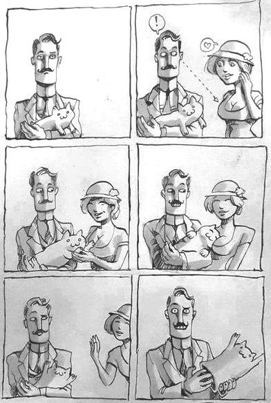 Комікс Хитрий чоловік з лялькою-котом мацає жіночі груди