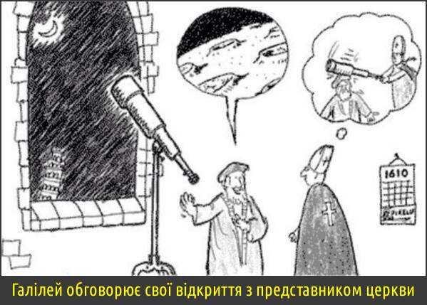 Смішний малюнок про Галілея. Галілей обговорює свої відкриття з представником церкви. Галілей розповідає про Всесвіт, а священник думає як би тріснути того Галілея телескопом по голові