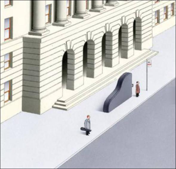Автобусна зупинка біля консерваторії. На зупинці стоїть скрипаль з футляром для скрипки і піаніст з футляром для фортепіано.