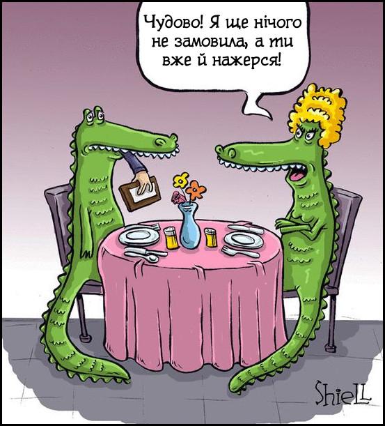 Гумор про крокодилів. Крокодили (чоловік і дружина) в ресторані. Крокодилиха: - Чудово! Я ще нічого не замовила, а ти вже й нажерся!