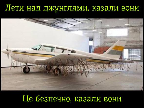 Жарт про дикі племена. Лети над джунглями, казали вони. Це безпечно, казали вони. Літак весь усіяний списами і стрілами.