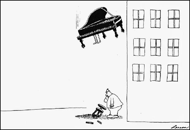 Чоловік побачив, що біля будинку лежить фортепіанне крісло. Задумався - звідки воно взялося? В цей час зверху на нього летить і саме фортепіано....