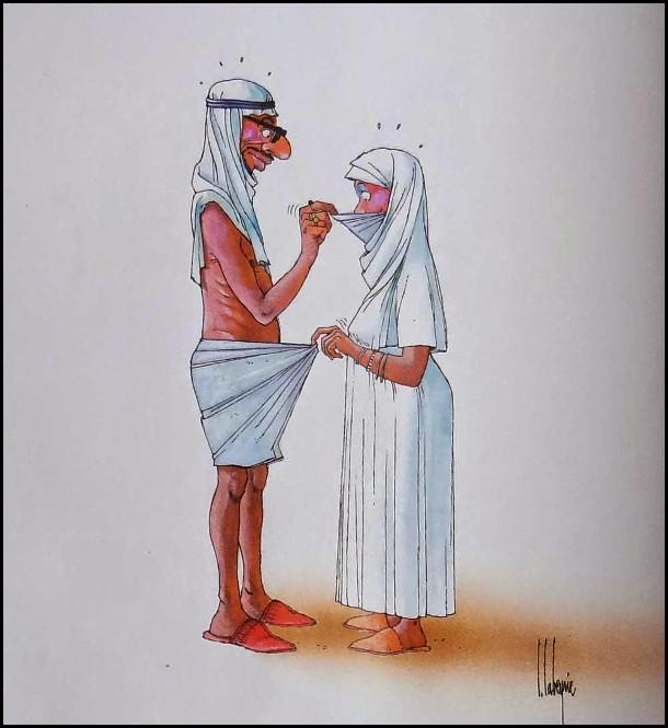 Перша шлюбна ніч на Близькому Сході. Чоловік вперше заглядає під нікаб, щоб побачити обличчя дружини. Дружина ж в свою чергу заглядає в труси чоловікові