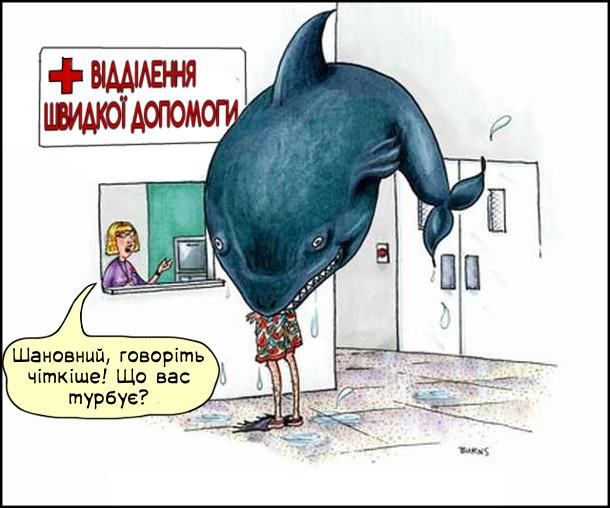 Смішний малюнок Ковтнула акула. До відділення швидкої допомоги прийшов чоловік, якого наполовину ковтнула велетенська риба. Диспетчер: - Шановний, говоріть чіткіше! Що у вас трапилось?
