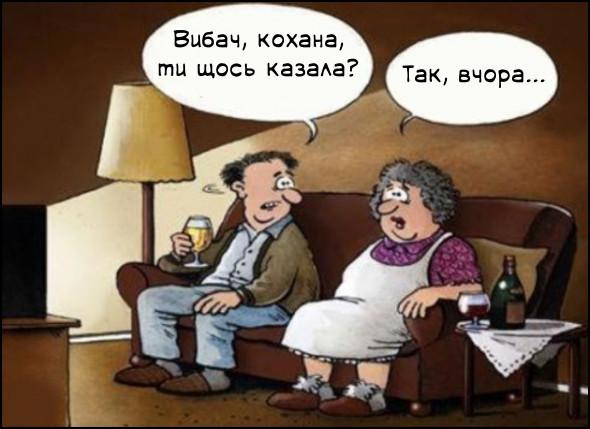 Прикол Чоловік не слухає дружину. Подружжя сидить біля телевізора. Чоловік: - Вибач, кохана, ти щось казала? Дружина: - Так, вчора?