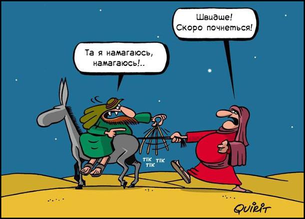 Вагітна дружина йде, тримаючи віслюка за хвіст. Чоловік їде на віслюку. Дружина: - Швидше! Скоро почнеться! Чоловік: - Та я намагаюсь, намагаюсь!