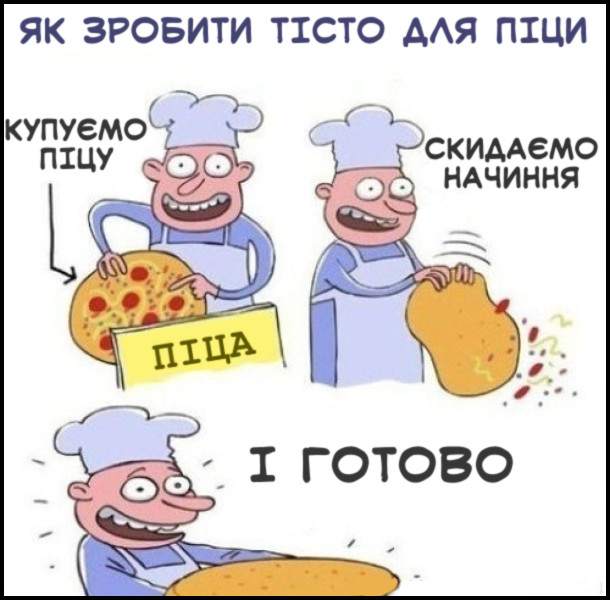 Прикол: Як зробити тісто для піци. Купуємо піцу, скидаємо начиння. І готово