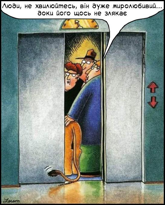 В ліфт заходить чоловік з левом. Каже: - Люди, не хвилюйтесь, він дуже миролюбивий... доки його щось не злякає. В лева хвіст назовні і дверцятка ліфта закриваються...