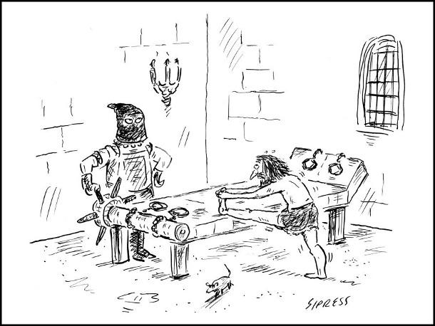 Середньовіччя, кімната катувань. Перед тортурами ув'язнений здійснює розминку робить вправи на розтяжки. Кат терпляче чекає