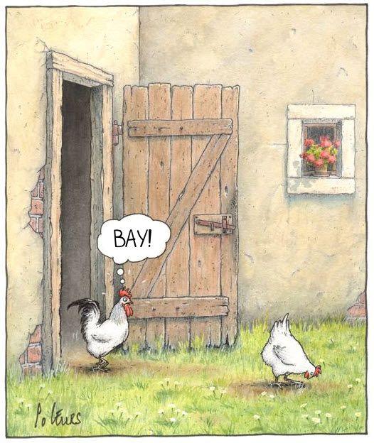 Ранок на фермі. Курка нахилилась і шукає зернята. В цей час з сараю виходить півень, дивить ся на це і каже : - Вау!