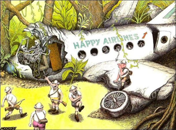 В джунглях дослідницька група знайшла розбитий пасажирський літак. Видно, що аварія виникла, бо кохались пілот і стюардеса