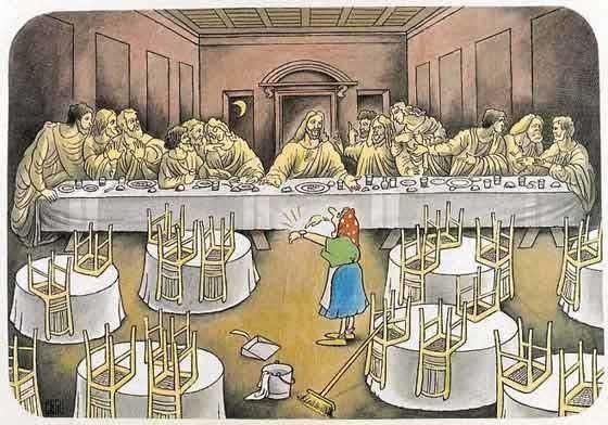 Таємна вечеря. Засиділись допізна. Прибиральниця показує, що час розходитись, бо їй треба мити підлогу