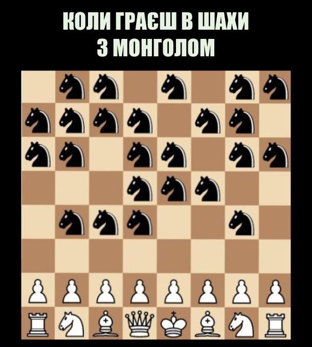 Коли граєш в шахи з монголом, в нього всі фігури - коні