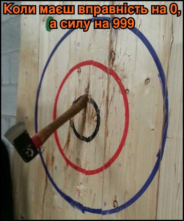 Коли маєш вправність на 0, а силу на 999. На фото: дерев'яна мішень в яку влучила сокира, але топорищем