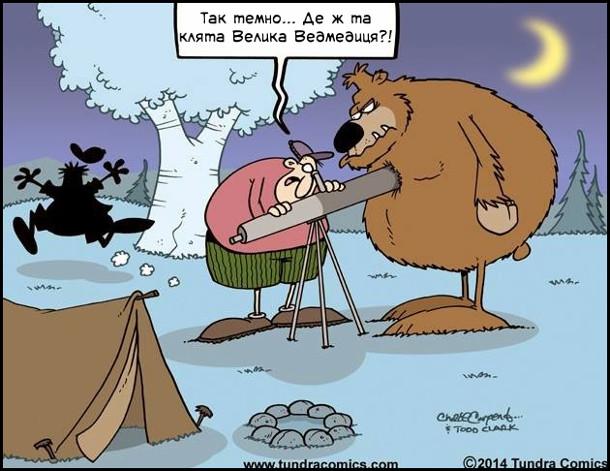 Астроном на пікніку в лісі дивиться в телескоп на небо до нього підійшо ведмідь і закрив собою телескоп. Астроном: - Так темно... Де ж та клята Велика Ведмедиця?!