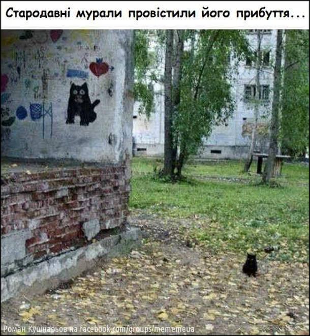Стародавні мурали провістили його прибуття. На фото: графіті з зображенням чорного котяри і біля нього сидить схоже маленьке чорне кошеня