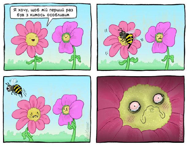 Квітка каже: - Я хочу, щоб мій перший раз був з кимось особливим. Прилетіла бджола, взяла нектар і полетіла