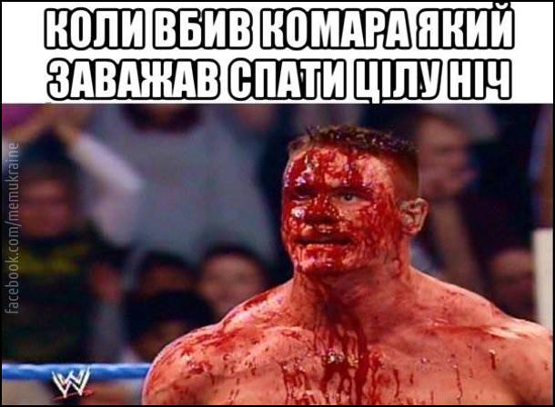 Коли вбив комара, який заважав спати цілу ніч. На фото: Реслер з WWE весь в крові