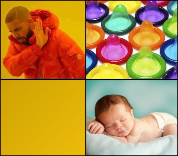 Мем про Дрейка. Презервативи? - Ні! Дитина? - Дрейк втік