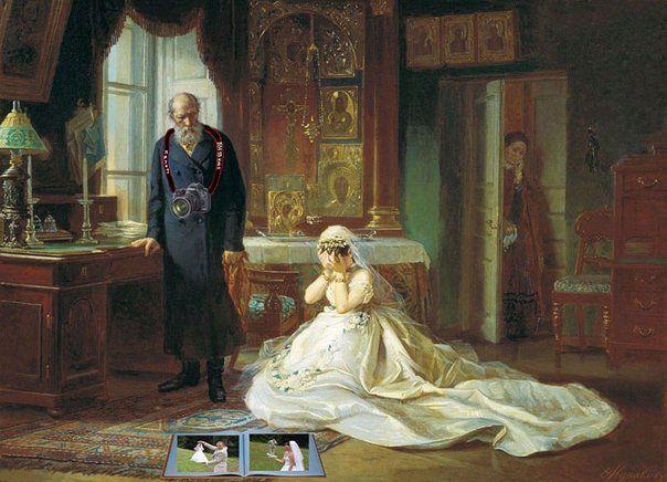 Старовинна картина. Стоїть фотограф, наречена плаче, дивлячись на весільний фотоальбом з банальними фотками (наречена тримає нареченого на долоні і навпаки)
