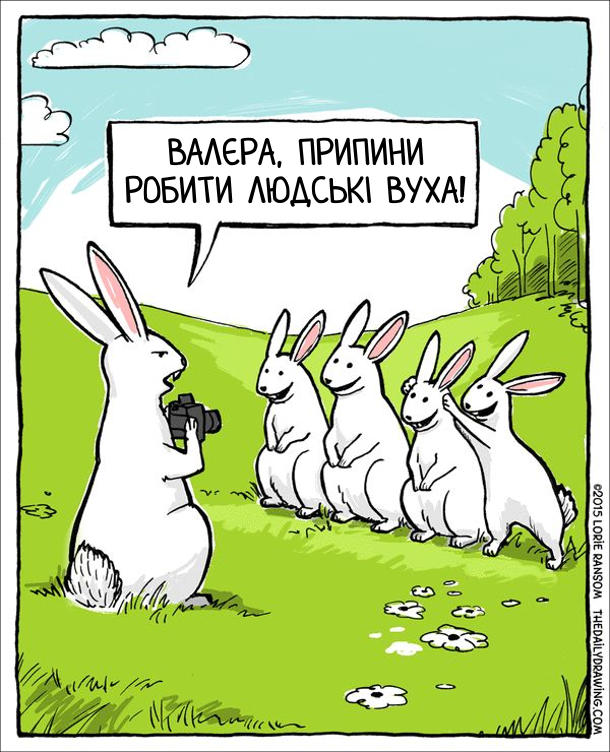 Зайці фотографуються. Заєць фотограф: - Валєра, припини робити людські вуха!