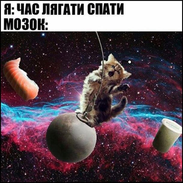 Я: Час лягати спати. Мозок: різні фантастичні картинки з планетами і котом