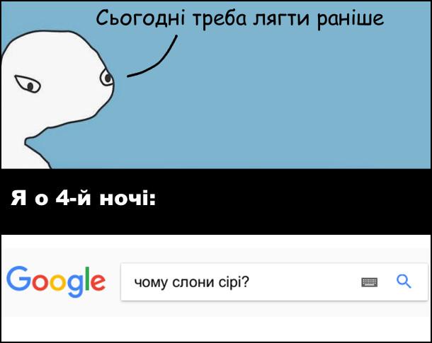 Я: - Сьогодні треба лягти раніше. Я о 4-й ночі пину в пошуку Google: чому слони сірі?