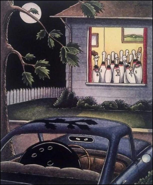 В кеглів для боулінгу весірка. А біля будинку стоїть машина, в якій сидить шар для боулінгу і чекає