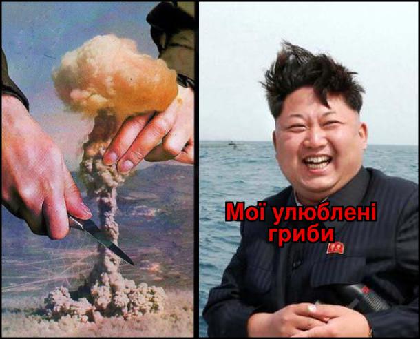 Гриб від ядерного вибуху. Кім Чен Ин: - Мої улюблені гриби