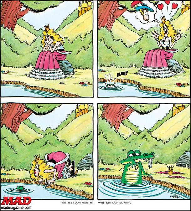 Казка про принца-жабу. Принцеса сидить на березі річки і тужить. Тут з води виглядають два ока. Принцеса зраділа це мабуть жаба, що є зачарованим принцом. Принцеса налилилася, щоб його поцілувати і він перетворився на людину. Але це виявився крокодил і він з'їв принцесу