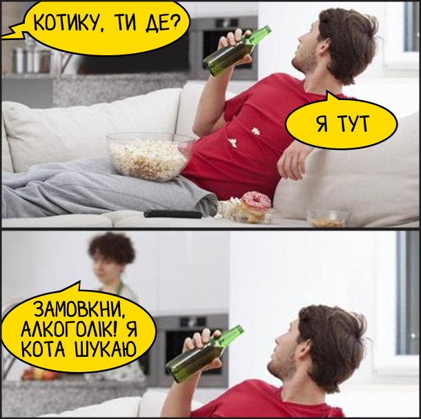 Дружина: - Котику, ти де? Чоловік, лежачи на дивані з пляшкою пива: - Я тут. Дружина: - Замовкни, Алкоголік! я кота шукаю