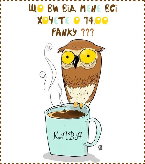 Сова сидить на горнятку кави і каже: - Що ви від мене всі хочете о 14.00 ранку???