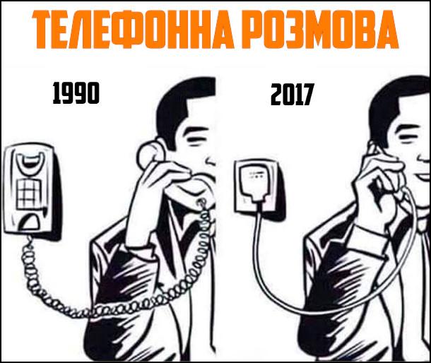 Телефони колись і зараз. Телефонна розмова 1990 - чоловік розмовляє дротовим телефоном. 2017 - чоловік розмовляє по мобільному телефоні, підключеному до зарядного пристрою