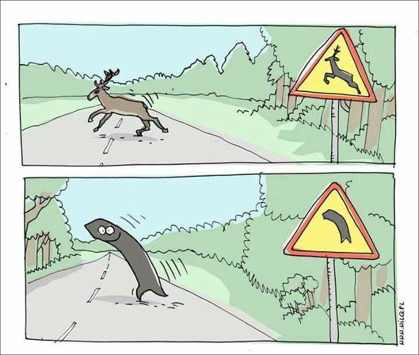 Коло дорожнього знаку з перебігаючим оленем - дорогу перебігає олень. Біля знаку, що показує поворот наліво - перебігає стрілка наліво