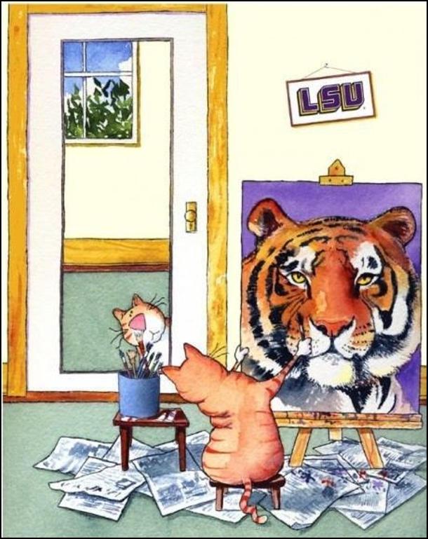 Кіт малює автопортрет, періодично поглядаючи в дзеркало. На малюнку обличчя тигра