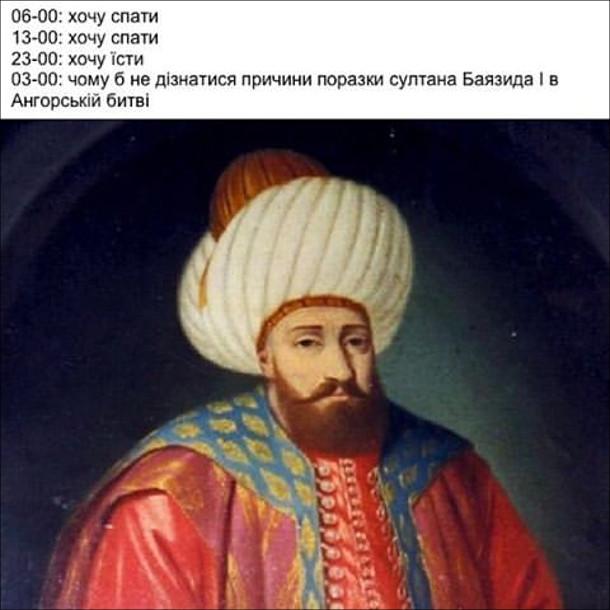 06-00: хочу спати. 13-00: хочу спати. 23-00: хочу їсти. 03-00: чому б не дізнатися причини поразки султана Баядиза I в Ангорській битві