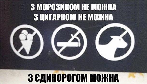 Табличка. З морозивом не можна, з цигаркою не можна, з єдинорогом можна