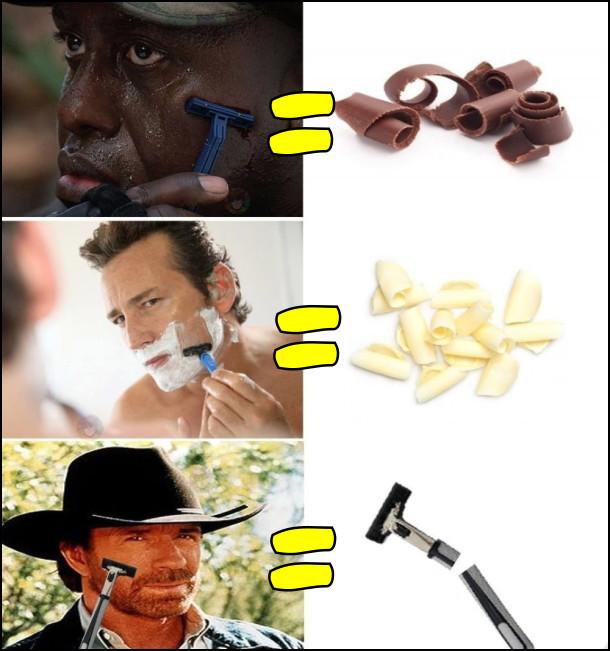 Мем про гоління. Бриється чорний - чорна стружка, бриється білий - біла стружка, голиться Чак Норріс - бритва зламалась