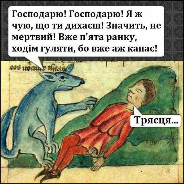 Середньовічна картина. Собака: - Господарю! Господарю! Я ж чую, що ти дихаєш! Значить не мертвий! Вже п'ята ранку, ходім гуляти, бо вже капає! Господар спросоння: - Трясця...