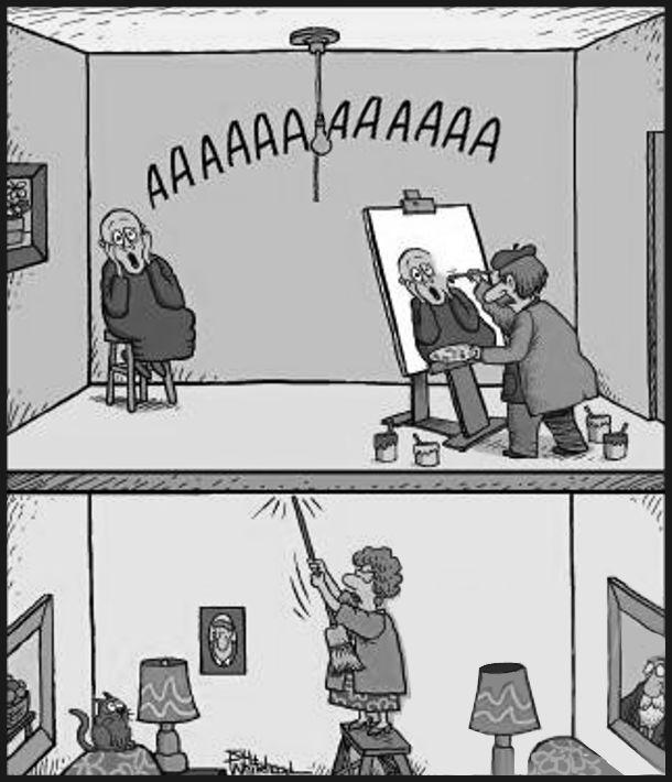Едвард Мунк малює картину крик. Натурник зробив відповідний вираз обличчя і кричить: - ААААААА. Сусідка з нижнього поверху стукає шваброю в стелю