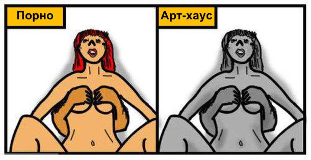 Порно: сцена сексу. Арт-хаус: те саме, тільки в чорно-білому кольорі