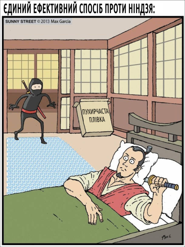 Єдиний ефективний спосіб проти ніндзя - розстелити на підлозі пухирчасту (повітряно-бульбашкову) плівку. Коли ніндзя зайде, його буде чутно.