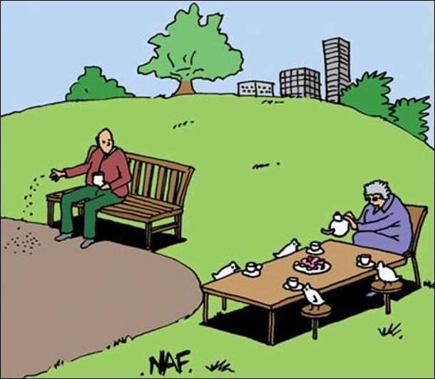 Сидить дід в парку на лавці і сипле крихти пташкам, але птахів немає, бо поблизу бабуся поставила стіл і чаює з пташками