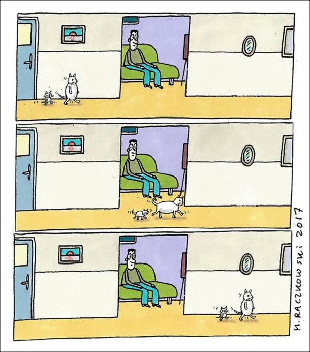 Два коти (великий і маленький) йдуть пішки на двох лапах. Коли проходять повз відкриті двері, де сидить господар, опускаються на чотири лапи, а далі знову йдуть на задніх лапах