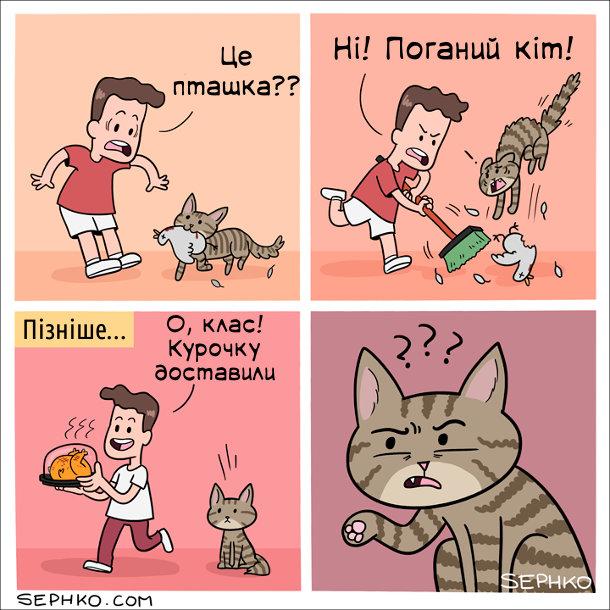 Кіт приніс здобич. Господар: - Це пташка?? Ні! Поганий кіт! Пізніше... Господар: - О, класс! Курочку доставили