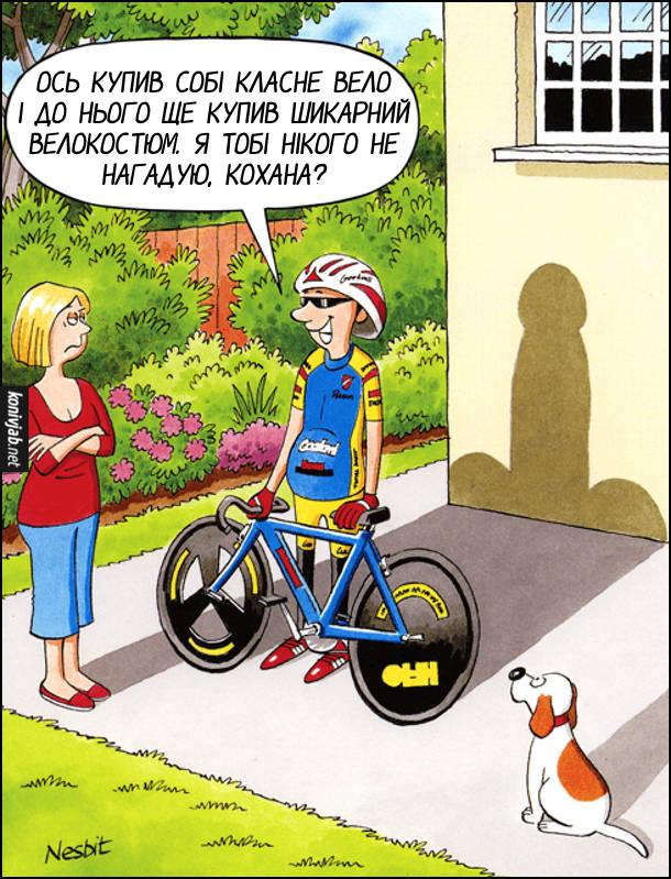 Чоловік купив велосипед. Чоловік вихваляється перед дружиною: - Ось купив собі класне вело і до нього ще купив шикарний велокостюм. Я тобі нікого не нагадую, кохана? Від нього і його велосипеда падає тінь на стіну і здається, що то великий пісюн з яйцями
