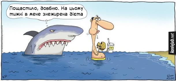 """Жарт, смішний малюнок про акулу. Стоїть мужик у воді біля берега і їсть жирний фаст-фуд. Ззаду підпливає акула і зі злістю думає """"Пощастило, довбню. На цьому тижні в мене знежирена дієта"""""""
