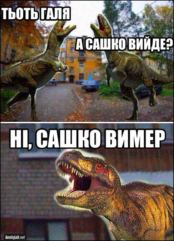 Жарт про динозаврів. Під вікном два динозаври-підлітки гукають: - Тьоть Галя. А Сашко Вийде? Та відповідає: - Ні, Сашко вимер