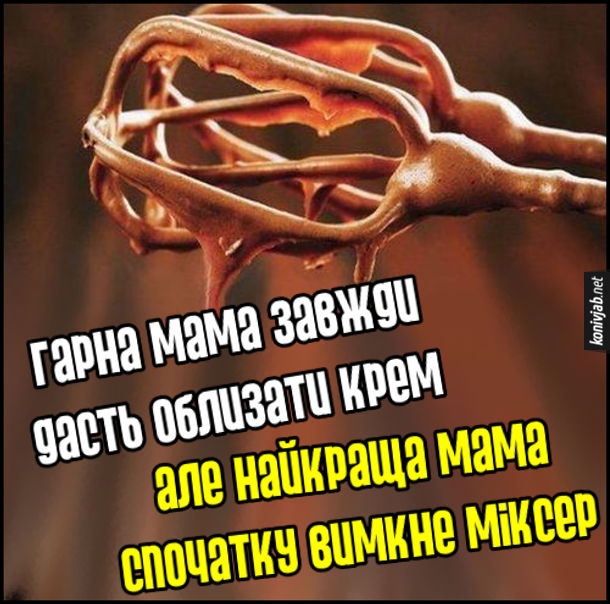 Гарна мама завжди дасть облизати крем, але найкраща мама спочатку вимкне міксер